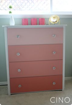 ombre dresser makeover--use paint swatch and get samples of each color...