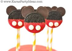 DIY Mickey Mouse Oreo Pops with TUTORIAL! Mickey Mouse Birthday Party via Karas Party Ideas | KarasPartyIdeas.com #mickey #mouse #cake #favo...