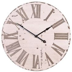 Cream Rustic Oversized Wall Clock ($210) ❤ liked on Polyvore featuring home, home decor, clocks, rustic home accessories, oversized clock, rustic wall clock, rustic clocks and cream wall clock
