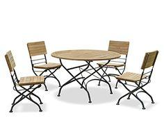 Café Teak Bistro Round Garden Table 0.8m and 2 Bistro Chairs Set - Jati Brand, Quality & Value: Amazon.co.uk: Garden & Outdoors