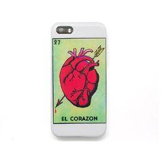 Case para iphone 5 y 5s de plástico con una ilustración de un corazón tipo carta de lotería.