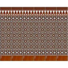 Zocalo Modelo Alhambra MB en colores blanco y marrón de diseño tradicional andaluz.Cada columna o paño mide 28 cm de ancho y 131 cm de altura. El precio corresponde a 1 paño o columna ( 1 metro lineal son 3,58 paños y en este caso se venderían 4 paños o columnas). Sugerencia para tu patio, ponte en contacto con nosotros y pide presupueto.  #ideasdecoración #patio #azulejos #Abacoarte #artesanía #Granada #zocalo #cerámica