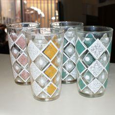 Vintage Mid-Century Hazel Atlas Glass Tumblers (Set of Four) picclick.com