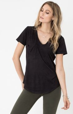 "Z Supply ""The Suede Pocket Tee""- Black"
