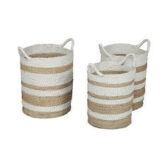 Jalur Striped Seagrass Wicker Baskets - Set of ($55) ❤ liked on Polyvore featuring home, home decor, small item storage, stripe tote, seagrass basket, grass basket, handmade boxes and sea grass baskets