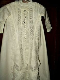 Antique Victorian 1890 Infant Baby Christening Gown Dress - Victorian Edwardian Childrens Clothing Apparel - The Gatherings Antique Vintage