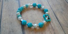 Turquoise Silver Pearls Flower Fancy Stardust by Cheshujewelry, $20.00