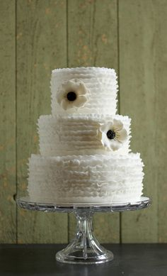 Ruffles and Anemones Wedding Cake