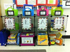 Be Excited About Math! Organize your math centers with these stations. Buddy games, Exercises for your brain, Accelerated Reader, and Manipulatives or Multiplication. Students love going to math workshop.