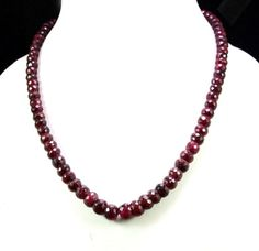 Natural Blood Red Ruby 375ct Big Size Faceted Beaded Gemstone String Necklace #Handmade #StrandString