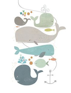 Wall Decoration Nursery - Happy Whales by Paper Moon Whale Art, Paper Moon, Arte Popular, Kids Prints, Art And Illustration, Art For Kids, Artsy, Drawings, Drawing Sketches