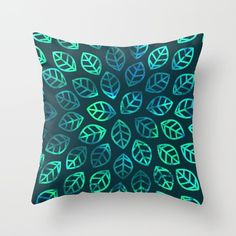 Blue Jungle Throw Pillow by laurafrere Throw Pillows, Nature, Blue, Mandalas, Toss Pillows, Naturaleza, Cushions, Decorative Pillows, Decor Pillows