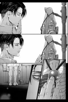 Levi saying goodbye. Levi Ackerman x Erwin Smith - Eruri Attack On Titan / SnK Me Me Me Anime, Anime Guys, Manga Anime, Anime Art, Eren E Levi, Levi And Erwin, Attack On Titan Ships, Attack On Titan Levi, Ghibli