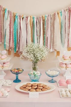 sometimes the simplest things can have a huge impact. this rag garland is quite lovely in soft colors. Rag Garland, Ribbon Garland, Fabric Garland, Fabric Banners, Aqua Party, Girl Birthday, Birthday Parties, Princess Birthday, Unisex Baby Shower