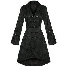 Hearts & Roses - Veste pour femme style gothique militaire noir satin motif fleuri brocade - -, XXL: Amazon.fr: Vêtements et accessoires