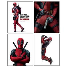 Deadpool  Set of 4 PHOTO PRINTS  Mini POSTERS of the HIT Marvel Comics Movie starring Ryan Reynolds as Wade Wilson * Check this awesome product by going to the link at the image.Note:It is affiliate link to Amazon. #awesome