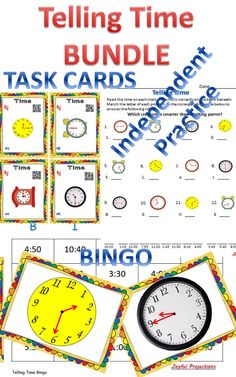 Task Cards, Bingo, and Independent Practice.  Everything you need for your students to master 'Telling Time!'