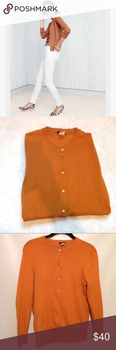 J. Crew Wardrobe Staple Cardigan. Good condition • Cover photo is similar, but not the same • Burnt orange color, perfect for fall! • Button closure • Short cardigan • Wardrobe staple • Approximately 22 inches in length • Size medium. J. Crew Sweaters Cardigans