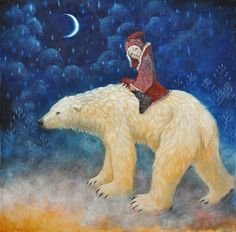 """Intelligent and fearless, native tribes throughout history have held the polar as a desirable ally and spirit helper. The white colour of the polar bear is very significant indeed, for it represents purity of spirit. As this bear is fearless and the universal energy only flows when fear is absent, the polar serves as a valuable ally in getting past fear, both physically and mentally. Shamnic Journey text. Art by Lucy Campbell """"Golden Bear"""""""