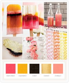 hot pink + saffron + ink + gold + coral color palette i think my favorite part of this inspiration board is the paper chain photo booth backdrop! (via Colorboard - Summer pop Coral Colour Palette, Coral Color, Colour Schemes, Color Combos, Gold Colour, Colour Palettes, Color Splash, Color Pop, Web Design