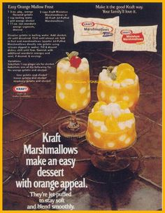 Easy Orange Mallow Frost made with Kraft marshmallows