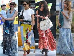 Celebrities Love Printed Maxi Skirts--Miranda Kerr in an Isabel Marant...Katie Holmes dressed down in a multi-coloured Tsumori Chisato pleated skirt...Selena Gomez in Free People 'Maracana' silk skirt with lace detail at the top...Jessica Alba embraced the longer hemline and the fine print with her off-duty look. Awash in blue-green hues, tempered by a beige jumper, this effortless exit could easily have taken the actress-mom from the playground to a backyard party.