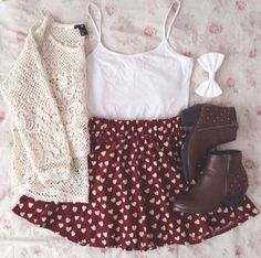 Love the skater skirt with the hearts and love the white bow to match. I'd probably wear different pair of shoes and not wear the light sweater, but that's just me.