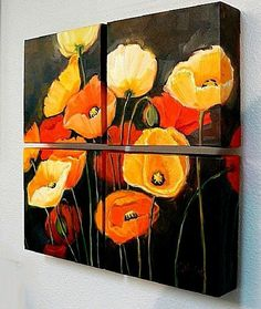 Poppy Profusion, 05508 by Carol Nelson Oil ~ 18 x 18 Abstract Tree Painting, Abstract Flowers, Acrylic Painting Canvas, Canvas Art, Encaustic Art, Art Moderne, Arte Floral, Love Art, Bunt