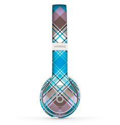 The Gray & Bright Blue Plaid Layered Pattern V5 Skin Set for the Beats by Dre Solo 2 Wireless Headphones
