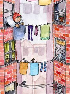 Laundry Day watercolor by chaldea, ❥Teresa Restegui http://www.pinterest.com/teretegui/ ❥