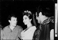 """Roger Pic, """"Georges Prêtre, Maria Callas dans l'opéra de Vincenzo Bellini """"Norma"""", à l'Opéra de Paris"""", 1965. Photographie n&b."""