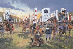 The allied Oda/Tokugawa army take a brief rest on their way to the relief of Nagashino, - art by Howard Gerrard Geisha, Bushido, Samurai Artwork, Japanese Warrior, Oriental, Japanese History, Samurai Warrior, Medieval Fantasy, Military History