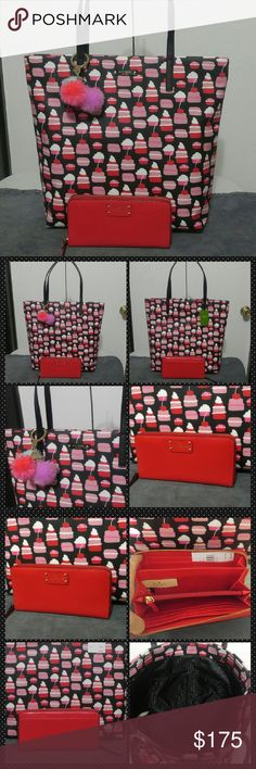 """Nwt Kate Spade Mini Pastry Bon Shopper & Wallet NWT Kate Spade Take the Cake Bon Shopper and matching red NWT leather Neda Wellesley Wallet Super cute 2 pc set. The Bon shopper is lightweight with coated material and black patent leather. Fun all over mini pastry print with cupcakes and cherries!!! Bag is 13.5"""" tall & 15"""" wide. Open top, logo liner with gold plated hardware. Wallet is new, leather, full sized Neda in cherryliqr (648) zip around with center coin area and CC slots, cash areas…"""
