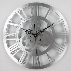 Vintage Mechanical Gear Wall Clock - Industrial Loft Style