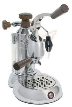 La Pavoni Stradavari Espresso Machine - Stainless with Wood Handles