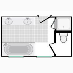 bathroom and closet floor plans | smaller design allows for closets outside of the bathroom area.