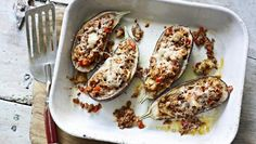 BBC Food - Recipes - Lamb-stuffed aubergines with Moorish spices and Manchego cheese