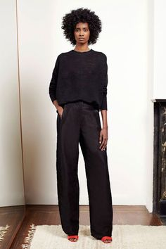 31 All-Black Outfit Ideas That Are Seriously Creative #refinery29  http://www.refinery29.com/creative-black-outfits#slide-3  A black outfit is the perfect canvas for a pop of color in your accessories.