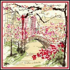"Vera Neumann's beautiful silk scarf entitled ""Springtime in Central Park"""