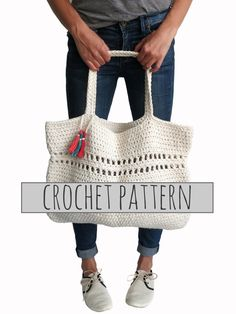 PATTERN for Beach Tote Bag Crochet Large Boho by TwoOfWandsShop, $5.00