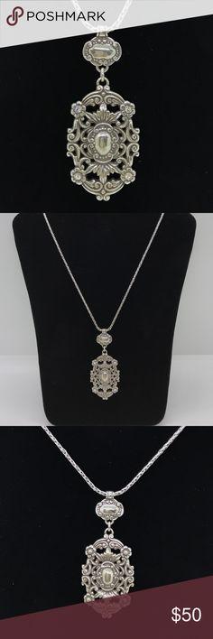 """BRIGHTON Victorian SilverSwarovskiCrystal Necklace BRIGHTON Stunning Victorian Swarovski Crystal Silver Necklace. 16"""" with 3"""" extension 2.5"""" pendant. EUC Brighton Jewelry Necklaces"""