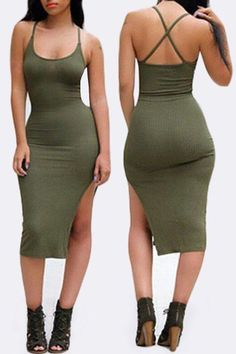 Stylish Solid Color Spaghetti Strap Back Criss-Cross Side Slit Bodycon Dress For Women Sexy Dresses, Tight Dresses, Summer Dresses, Fitted Dresses, Sheath Dresses, Midi Dresses, Party Dresses, Dress Outfits, Olive Dress