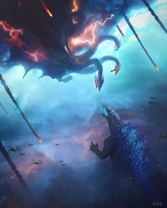 Tagged with godzilla, king ghidorah, kingghidorah; Textless IMAX poster for Godzilla: King of the Monsters Monster Verse, Monster Art, All Godzilla Monsters, Godzilla Comics, Godzilla Godzilla, Godzilla Costume, Fantasy Creatures, Mythical Creatures, Godzilla Vs King Ghidorah