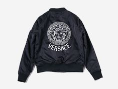 "Versace Bomber Jacket ▫ Polyester and cotton blend, ▫ Features long sleeves, zip up, + two pockets ▫ Thin lined, lightweight, windbreaker bomber jacket XS/S S/M M/L L/XL SHOULDER 16"" 16.5"" 17.5"" 18.5"""