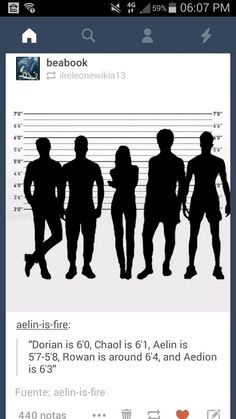 Height of Dorian, Chaol, Aelin, Rowan and Aedion - Throne of Glass characters