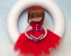 Needle felted book girl yarn wreath *MADE TO ORDER*