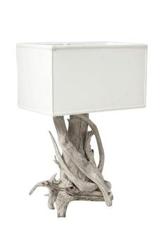 Driftwood Lamp  Transitional, Upholstery  Fabric, Natural Material, Wood, Table Lighting by James Duncan, Inc