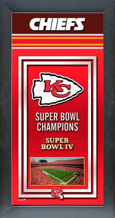 This framed Kansas City Chiefs poster celebrates each of their Super Bowl wins. Our Kansas City Chiefs Championship banner includes the team logo, photo of their home stadium and their Super Bowl Championship years