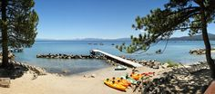 View from the Pool at the Red Wolf Lakeside Lodge in Tahoe Vista, CA