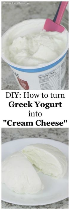 "DIY: How to turn Greek Yogurt into ""Cream Cheese"". This easy tip will transform the way you eat bringing the non-fat and high protein combo of Greek Yogurt to all of your favorite dishes that require cream cheese. Use 24 our yogurt for SCD. Make Cream Cheese, How To Make Cheese, Food To Make, Making Cheese, Cream Cheeses, Non Dairy Cream Cheese, Healthy Cream Cheese, Non Dairy Butter, Ww Recipes"